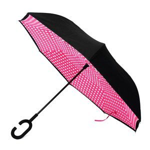 Pink Polka Dot Inverted Umbrella